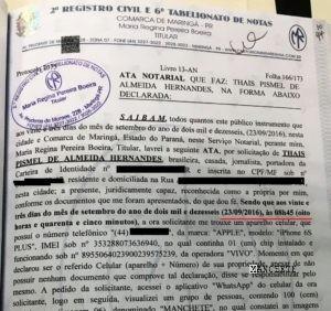 Documento registrado no dia 23 às 8h45