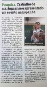 o trabalho da professora Rosangela Panucci foi destaque também nos jornais locais